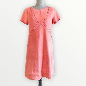 2/$25💞 Peach faux suede eyelet shift dress